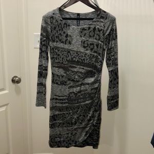 Animal print sexy body fitting long sleeves dress